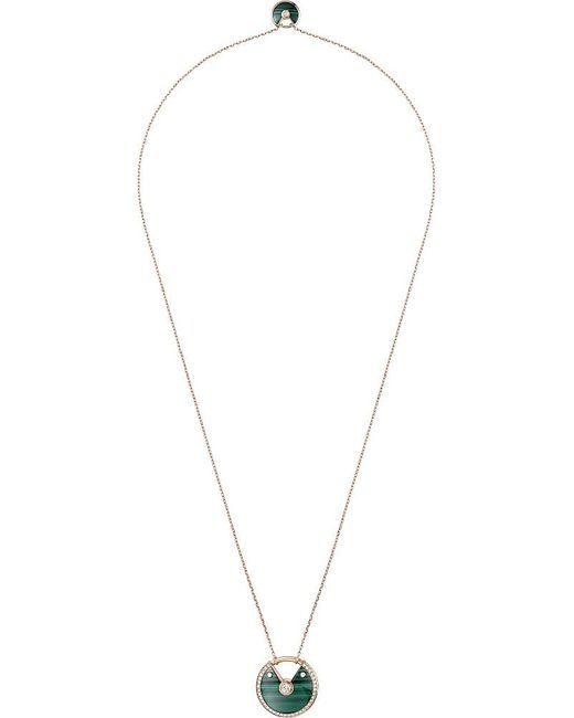 Cartier   Green Amulette De 18ct Pink-gold Malachite And Diamond Necklace   Lyst