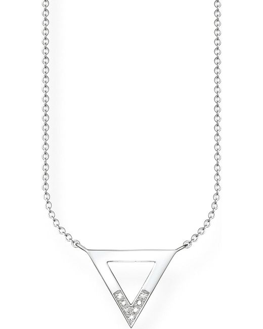 Thomas Sabo | Metallic Triangle Sterling Silver And Diamond Necklace | Lyst