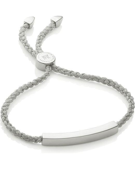 Monica Vinader | Green Linear Woven Silver Friendship Bracelet | Lyst