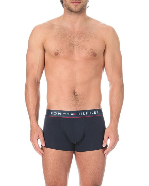 Tommy Hilfiger | Black Flex Cotton Low-rise Trunks for Men | Lyst