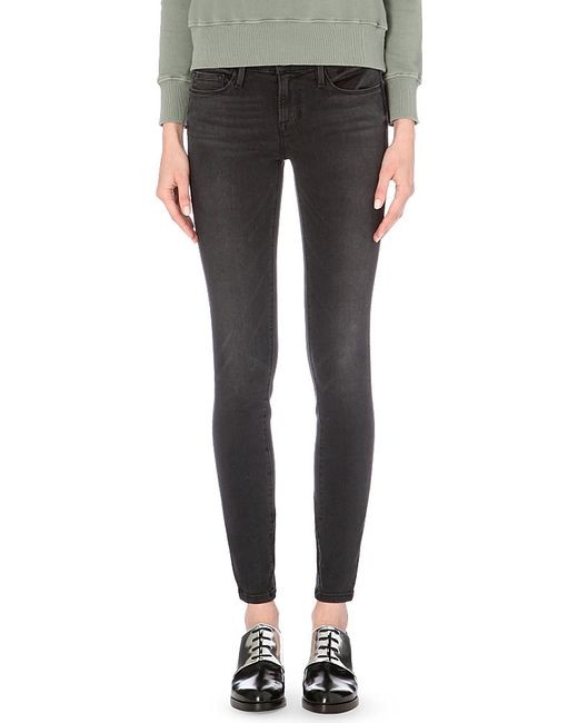 FRAME | Black Le Skinny Skinny Mid-rise Jeans | Lyst
