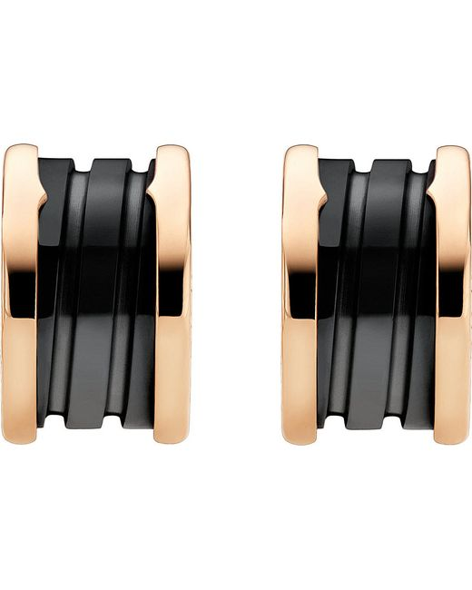BVLGARI | B.zero1 18kt Pink-gold Earrings With Black Ceramic | Lyst