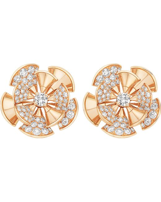 BVLGARI | Divas' Dream 18kt Pink-gold And Diamond Earrings | Lyst