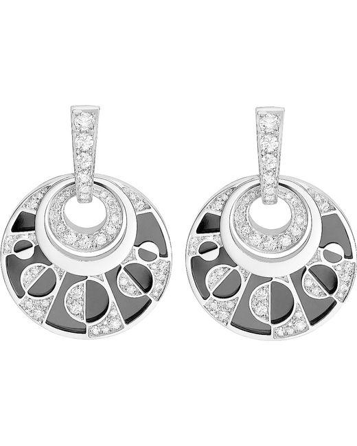 BVLGARI | Metallic Intarsio 18kt White-gold Earrings With Black Onyx And Pavé Diamonds | Lyst