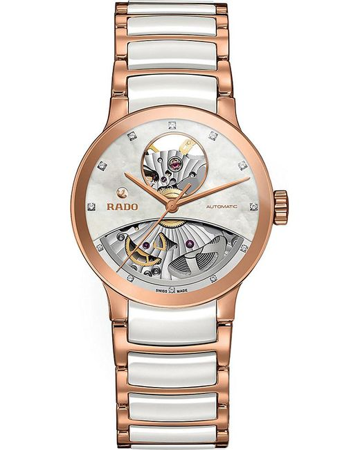 Rado | Metallic R30248902 Centrix Rose Gold And Mother-of-pearl Open Heart Watch | Lyst