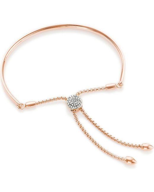 Monica Vinader | Pink Fiji 18ct Rose Gold-plated And Diamond-pavé Friendship Bracelet | Lyst