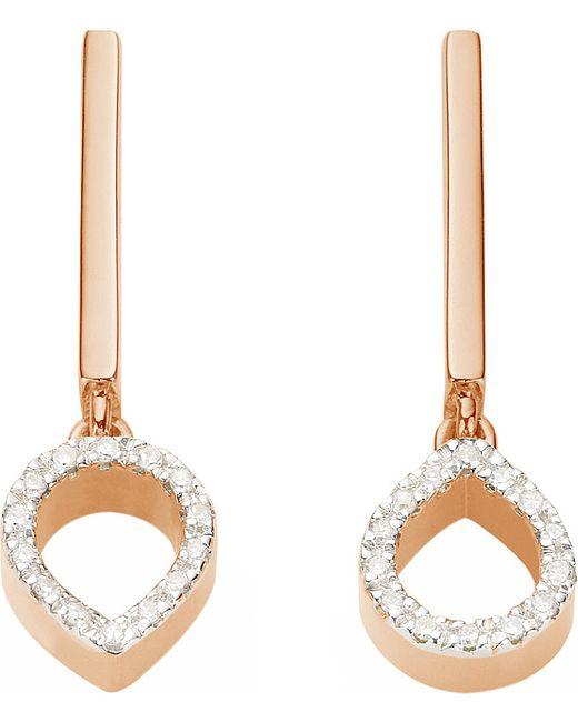 Monica Vinader | Metallic Naida Mini Lotus 18ct Rose Gold Vermeil And Diamond Earrings | Lyst