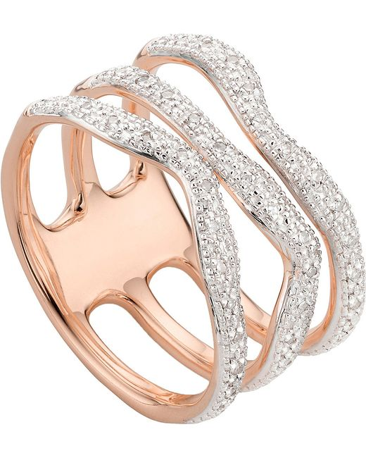 Monica Vinader | Metallic Riva Wave Rose-gold Vermeil Pavé Diamond Triple Ring | Lyst