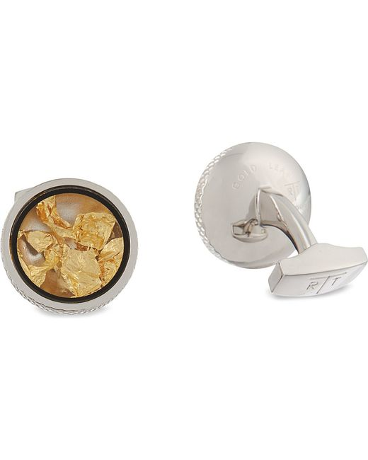Tateossian | Metallic Gold Leaf Cufflinks And Stud Set for Men | Lyst