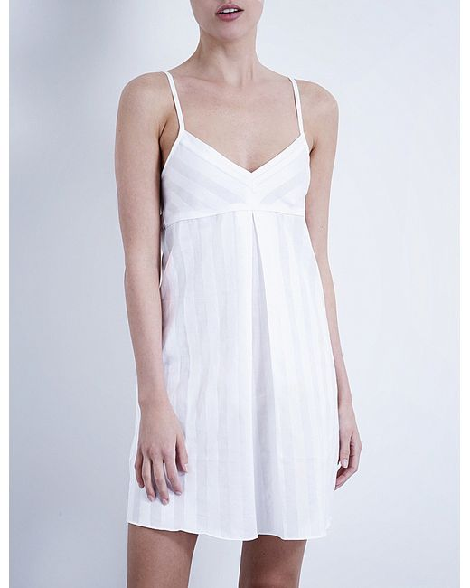 Bodas | White Shadow Stripe Cotton Nightdress | Lyst