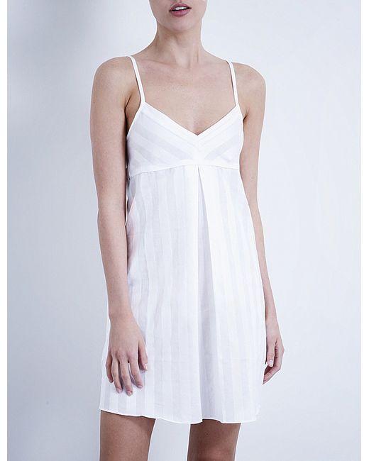 Bodas | White Shadow Stripe Cotton Nightdress | Lyst