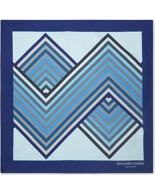 Richard James | Blue Patterned Silk Pocket Square - For Men for Men | Lyst