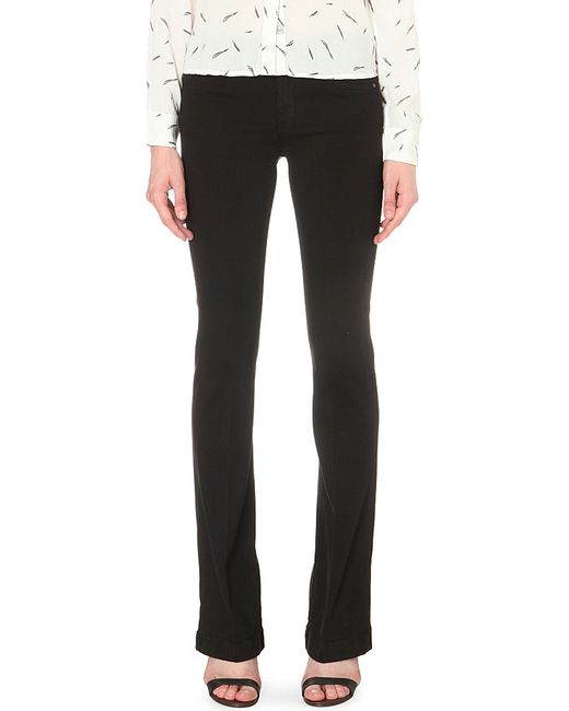 7 For All Mankind | Black Charlize Bootcut Mid-rise Jeans | Lyst