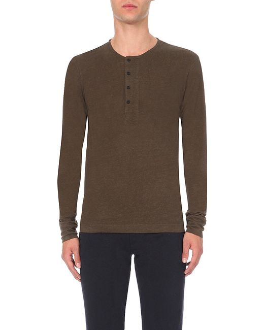 Sandro | Natural Button-detail Linen-jersey Top for Men | Lyst