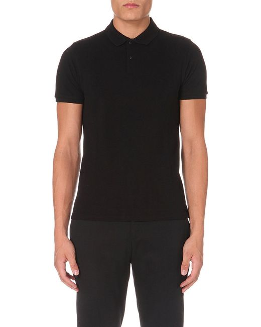 Sandro | Black Slim-fit Cotton-piqué Polo Shirt for Men | Lyst