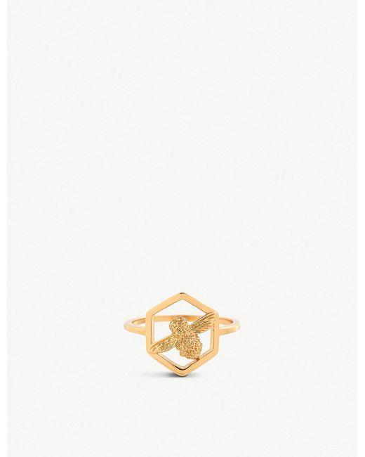 Olivia Burton - Metallic Honeycomb Bee Gold-plated Ring - Lyst