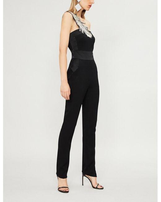 David Koma - Black Sequin-embellished Asymmetric Wool-blend Jumpsuit - Lyst