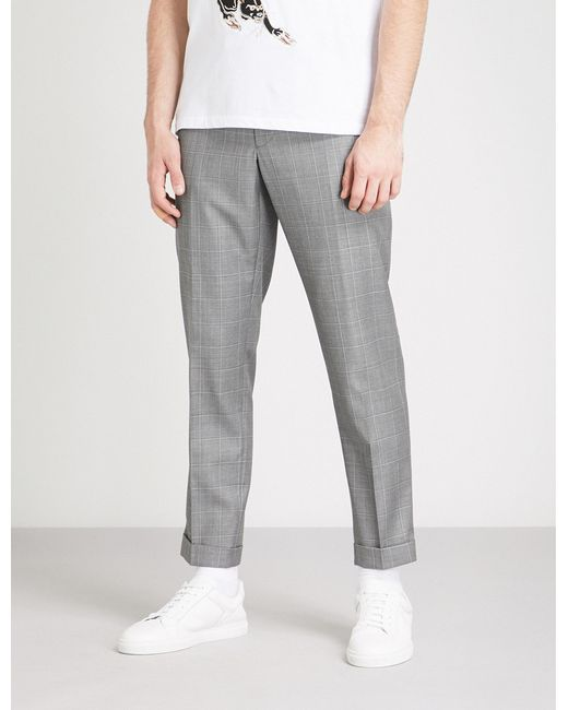 The Kooples - Gray Tapered Cropped Wool Trousers for Men - Lyst