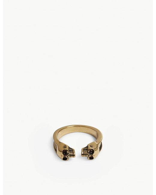 Alexander McQueen - Metallic Twin Skull Thin Ring - Lyst