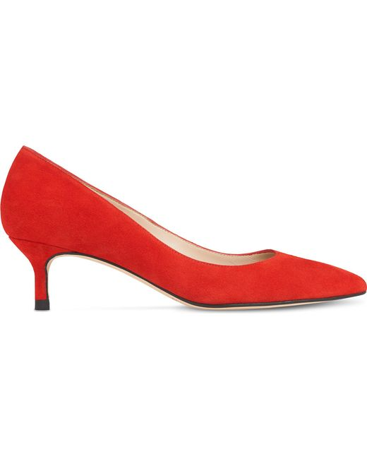 Lyst L K Bennett Audrey Red Suede Closed Courts In Red