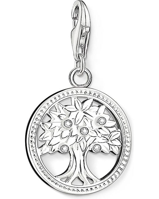 Thomas Sabo - Metallic Charm Club Silver And Zirconia Tree Of Life Charm Pendant - Lyst