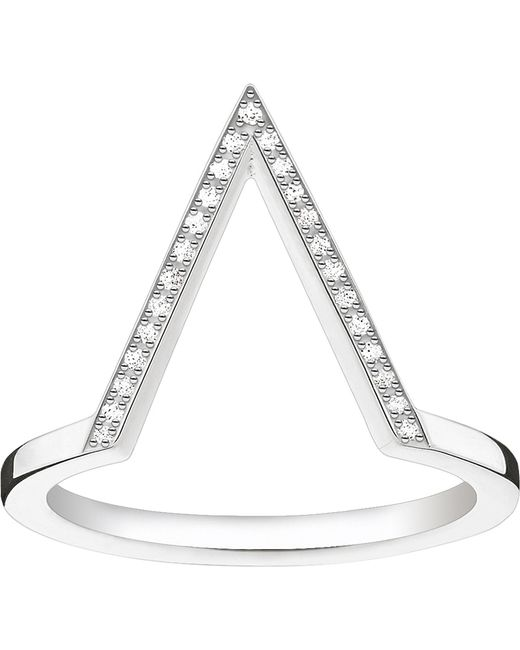 Thomas Sabo - Metallic Triangle Sterling Silver Diamond Ring - Lyst
