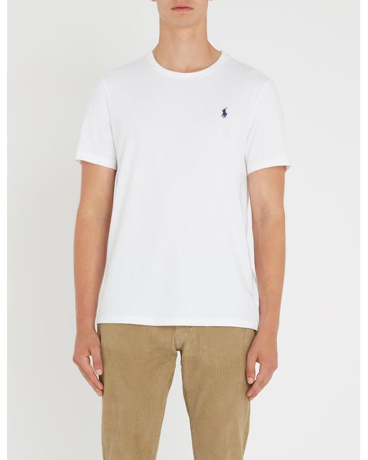 f75140514 Polo Ralph Lauren Slim-fit Cotton-jersey T-shirt in White for Men - Lyst