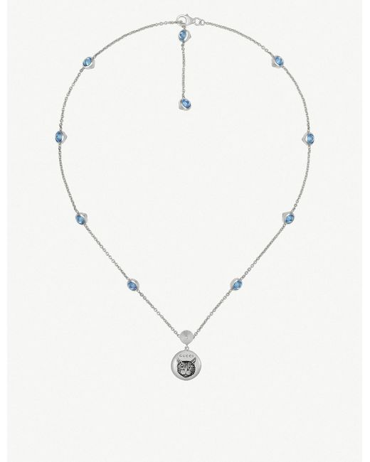 Gucci - Metallic Blind For Love Cat-engraved Sterling Silver And Blue Zirconia Necklace - Lyst