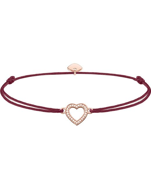 Thomas Sabo - Pink Little Secrets Textile And Sterling Silver 18ct Rose-gold Plated Heart Bracelet - Lyst