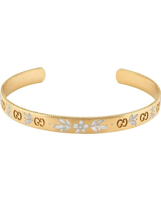 Gucci - Icon Blossom 18ct White Gold Bracelet - Lyst
