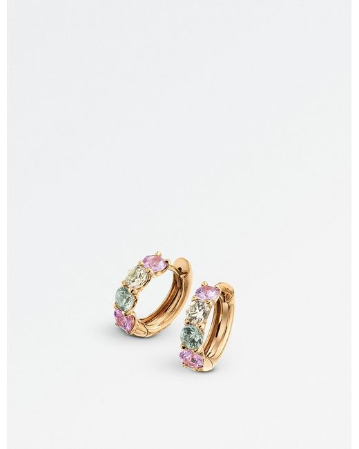 BUCHERER JEWELLERY - Metallic Pastello Creole 18ct Rose-gold And Sapphire Earrings - Lyst