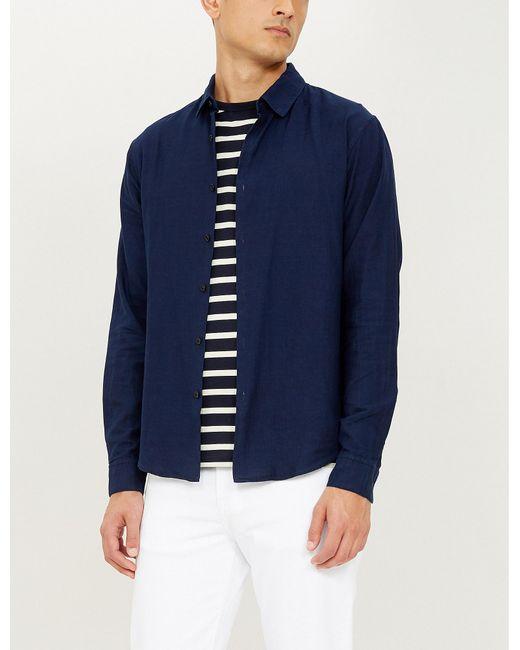 98bd994e0 Men's Blue Regular-fit Cotton-twill Shirt