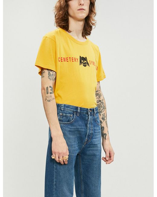 7e3e5515 Gucci Cemetery Symbolism Cotton-jersey T-shirt in Yellow for Men - Lyst