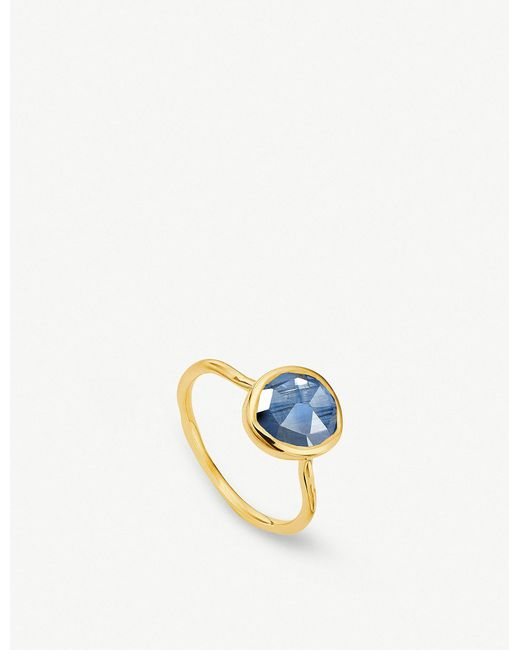 Monica Vinader - Blue Siren 18ct Gold Vermeil And Kyanite Stacking Ring - Lyst