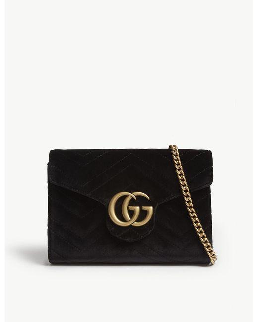689fb3309a174a Gucci - Ladies Black Elegant Marmont Gg Velvet Billfold-on-chain - Lyst