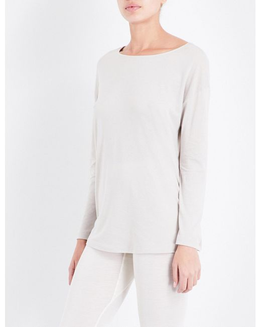 Hanro | White Long-sleeved Cotton-jersey Pyjama Top | Lyst