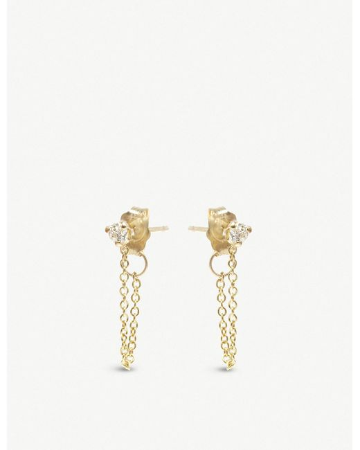 The Alkemistry - Metallic Zoë Chicco 14ct Yellow-gold And Diamond Chain Earrings - Lyst