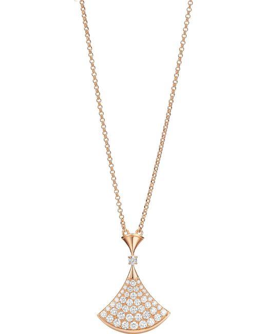 BVLGARI - Divas' Dream 18kt Pink-gold Necklace With Pavé Diamonds - Lyst