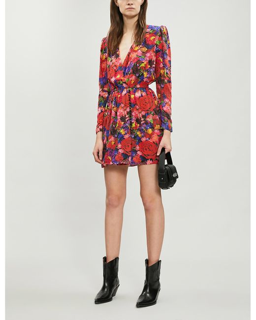 6c5fd5306 Lyst - The Kooples Floral-print Frill-trimmed Silk Dress in Red
