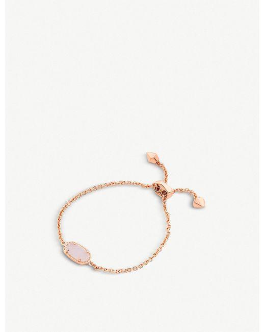Kendra Scott - Metallic Elaina 14ct Rose Gold-plated And Light Prink Drusy Bracelet - Lyst