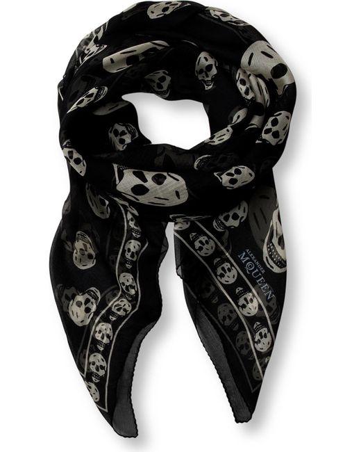 Alexander McQueen   Black Skull-print Silk-chiffon Scarf   Lyst