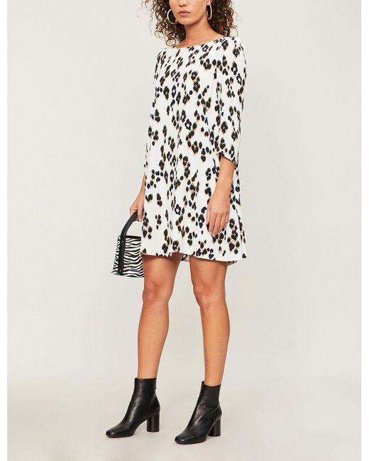 f81dfda330 Claudie Pierlot - Multicolor Flared Leopard-print Crepe Mini Dress - Lyst