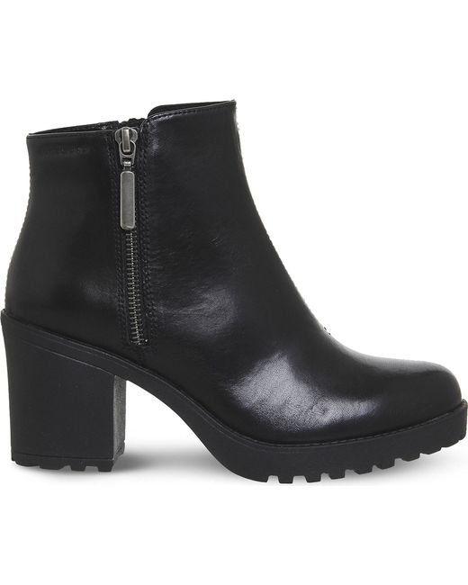 Vagabond Grace Leather Ankle Boots In Black