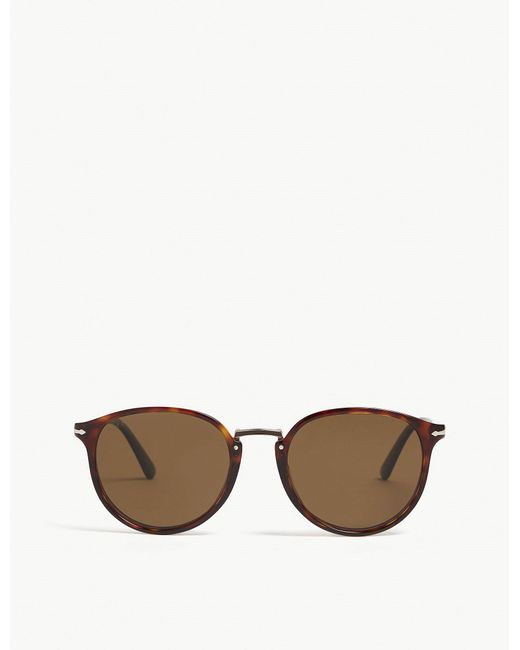 Persol - Brown Po3210 Typewriter Edition Round-frame Sunglasses for Men - Lyst