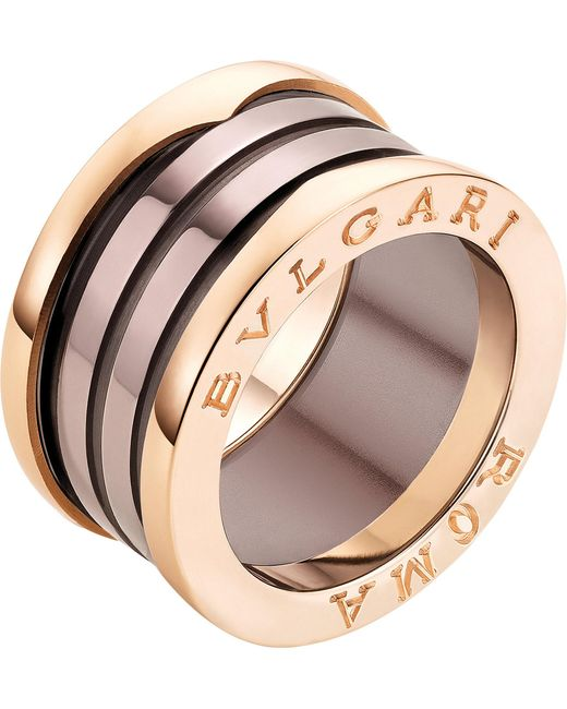 BVLGARI - Multicolor B.zero1 Roma Four-band 18kt Pink-gold And Bronze Ceramic Ring - Lyst