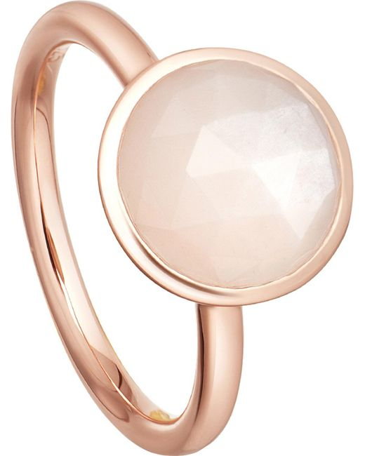 Astley Clarke - Pink Stilla 18ct Rose-gold Plated Moonstone Ring - Lyst