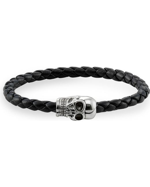 Thomas Sabo - Metallic Unity Plaited Leather Embellished Skull Head Bracelet - Lyst