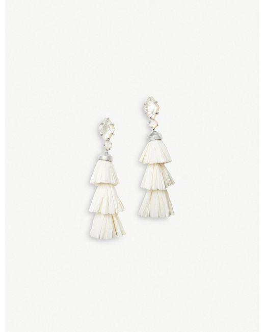 Kendra Scott - White Denise Rhodium-plated And Ivory Mother-of-pearl Tassel Earrings - Lyst