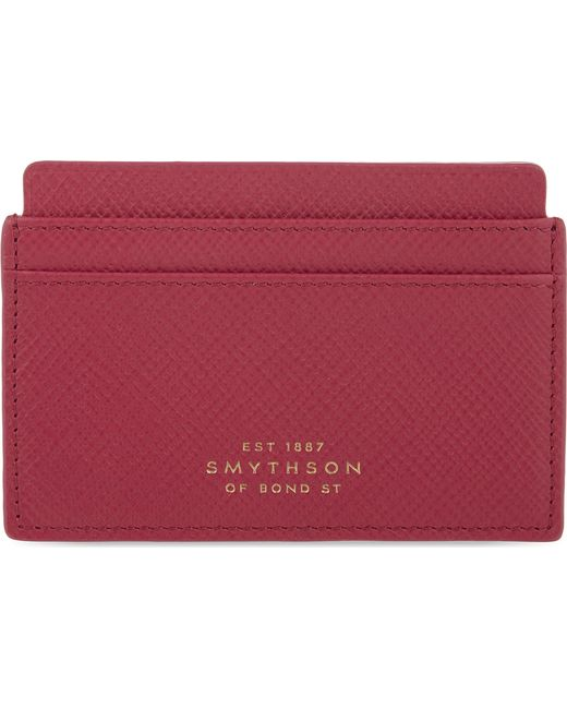Smythson - Red Panama Cross-grain Leather Card Case - Lyst