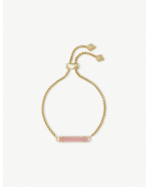 Kendra Scott - Metallic Stan 14ct Yellow Gold-plated And Rose Quartz Bracelet - Lyst